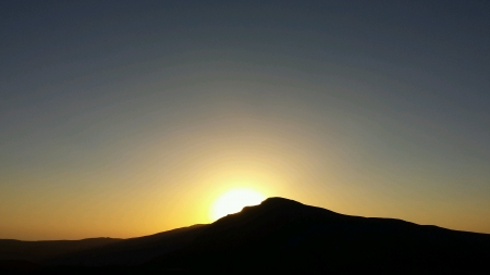 musandam: Sunset over mountain at Musandam Oman Stock Photo