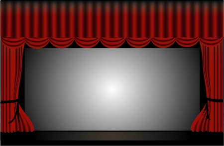 Theater Stage with Red Curtains Stock Vector - 24685861