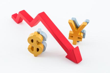Renminbi and dollar exchange rate concept