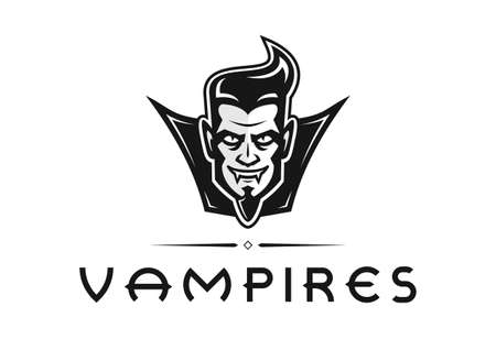 Vampires logo design proposal. Edge design that portrays a modern vampire with a cool haircut and a happy expression. Can be used for all sorts of identities from e-sports to social clubs.