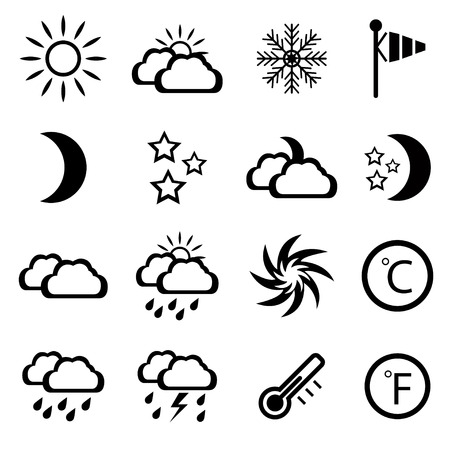 humidity: Set of black weather icons