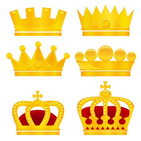 coronation: Set of gold crowns on white background, vector illustration Illustration