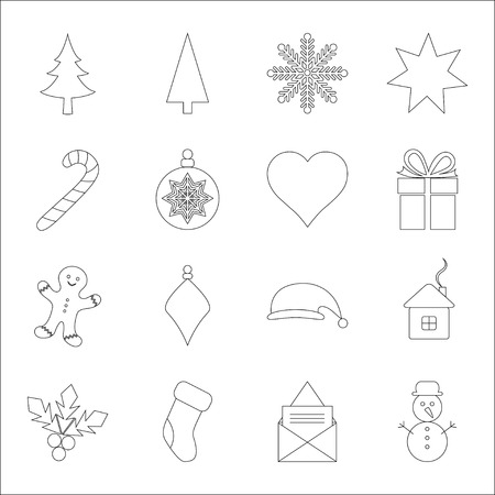 white winter: Christmas icons, vector illustration