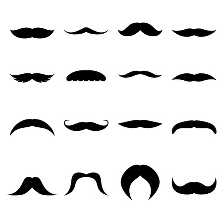 bigote: Conjunto de bigotes, ilustraci�n vectorial