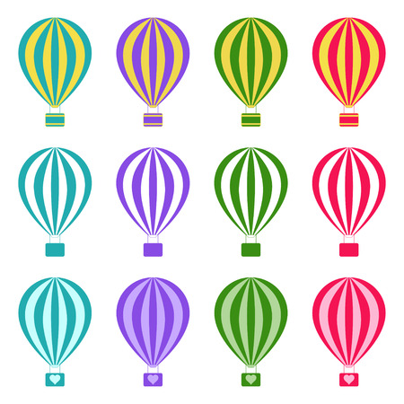 yellow adventure: Set of hot air balloons on white background, vector illustration Illustration