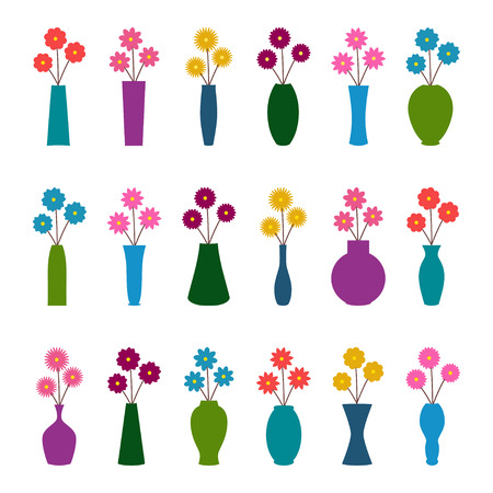 Set of vases with flowers, vector illustration