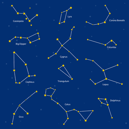 corona: Constellations: cassiopeia, big dipper, cepheus, lyra, grus, cygnus, triangulum, cetus, corona borealis, columba, lepus, delphinus, vector illustration Illustration