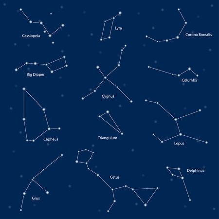 costellazioni: Costellazioni: Cassiopea, grande bilancieri, Cefeo, Lyra, grus, Cygnus, Triangolo, Cetus, Corona Boreale, Colomba, Lepus, Delphinus, illustrazione vettoriale