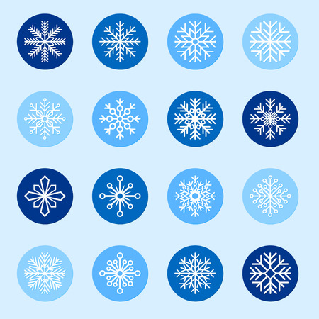 color backgrounds: Set of white snowflakes on color backgrounds