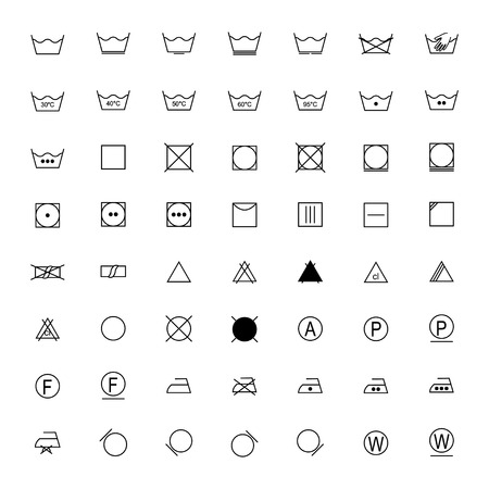 Set of laundry symbols, vector illustration