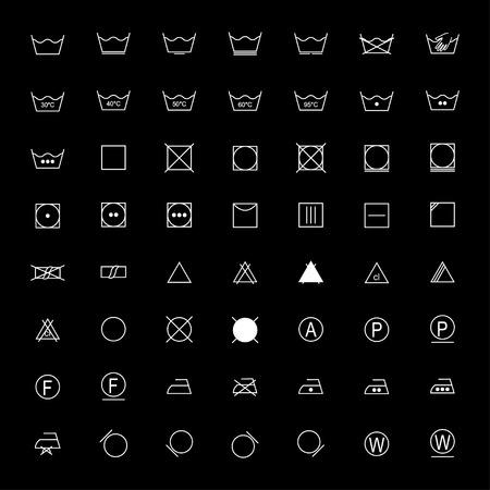 branqueamento: Jogo dos s�mbolos da lavanderia brancas no fundo preto, ilustra��o vetorial