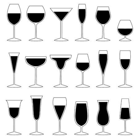 cocktail glasses: Set of glasses with drink, vector illustration