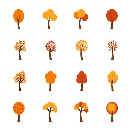 autumn tree: Set of autumn trees, vector illustration