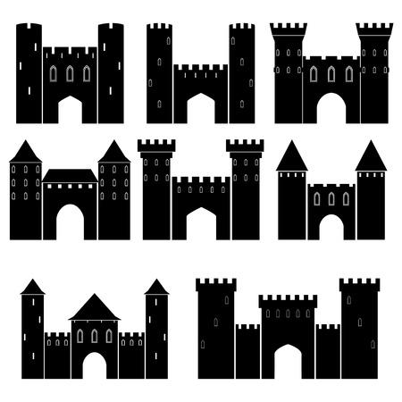 castello medievale: Set di castelli medievali, illustrazione vettoriale Vettoriali