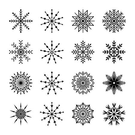 copo de nieve: Conjunto de copos de nieve, ilustración vectorial Vectores