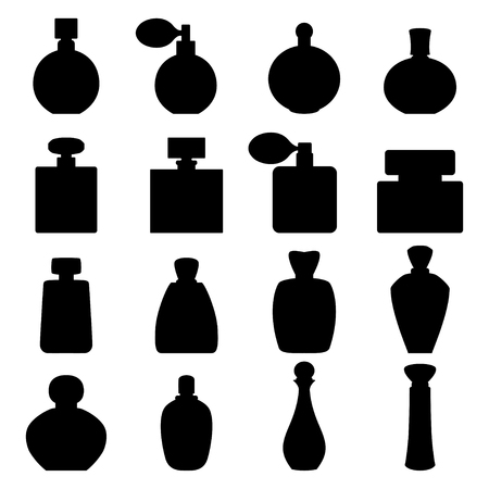 feminity: Set of perfume icons, vector illustration