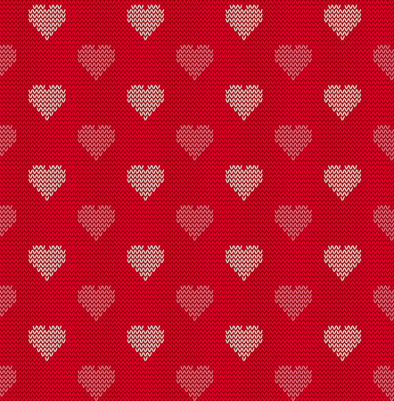 knitted: Seamless knitted background with hearts, vector illustration