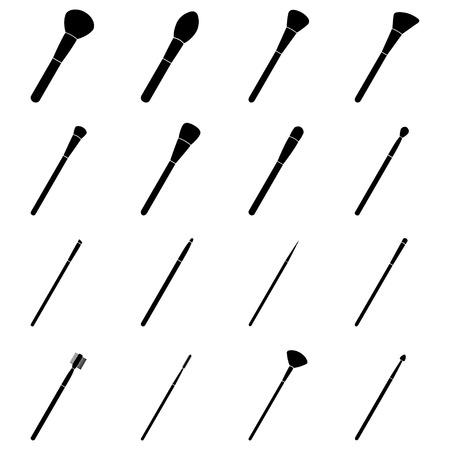 Set di pennelli da trucco, illustrazione vettoriale Vettoriali
