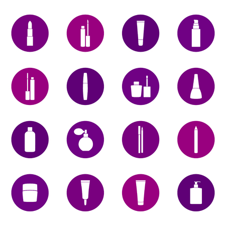 feminity: Set of cosmetics icons on color background, vector illustration Illustration