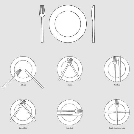 etiquette: Table etiquette, vector illustration