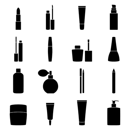 feminity: Set of cosmetics icons, vector illustration