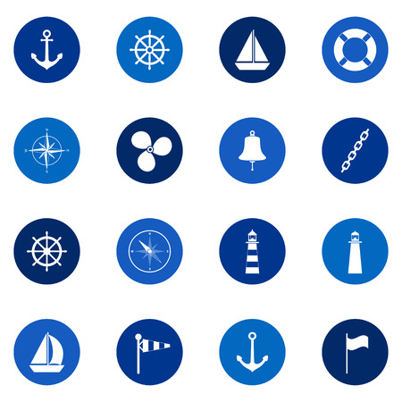compass icon: Set of sea icons on color background, vector illustration