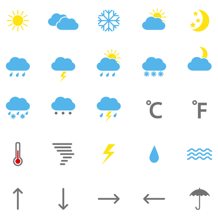 hailstone: Set of color weather icons, illustration