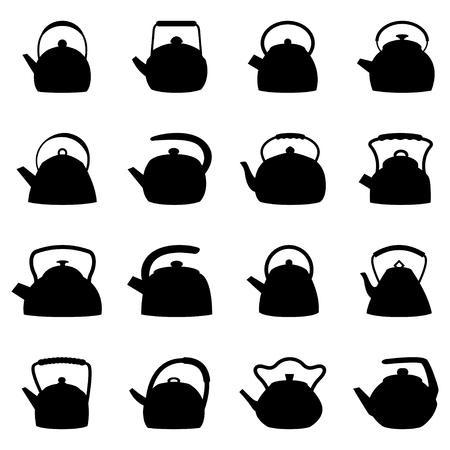 kettles: Conjunto de calderas, ilustraci�n Vectores