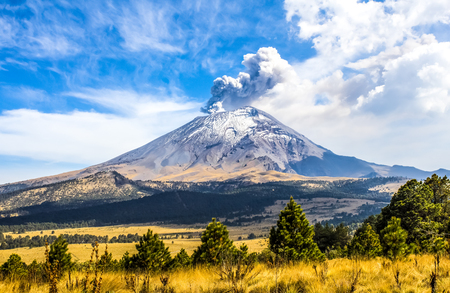 volcano mountain erupting: Active Popocatepetl volcano in Mexico