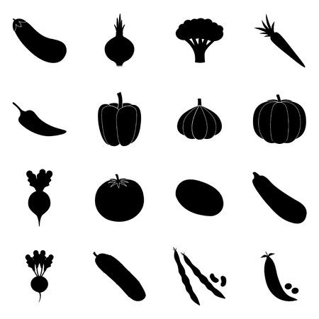 kitchen garden: Set of black vegetable icons, illustration