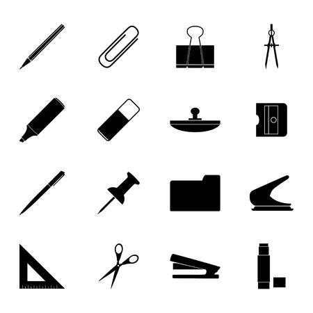 hole puncher: Set of black stationery icons, illustration