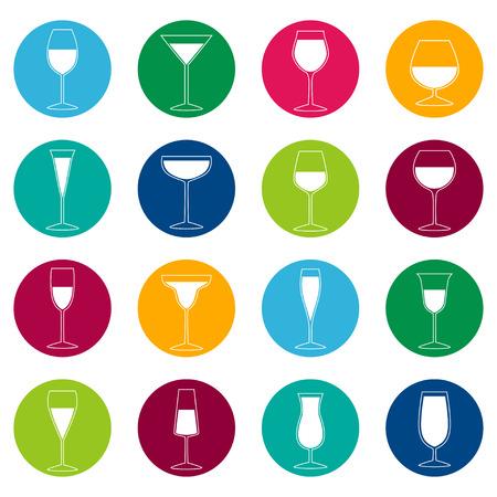 champagne flute: Set of glasses with drinks on color background, illustration