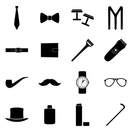 suspenders: Set of black icons of mens accessories, illustration