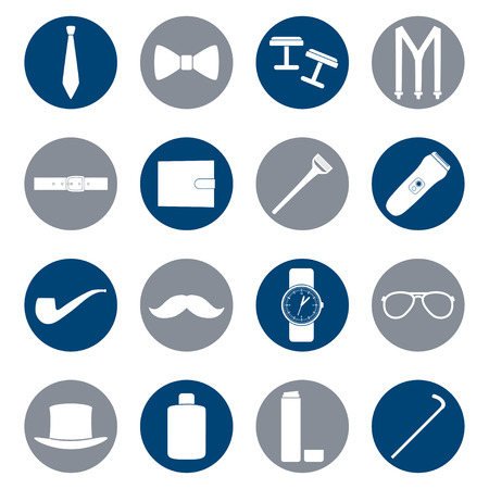 aftershave: Set of white icons of mens accessories on color background, illustration