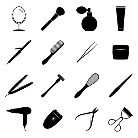 black beauty: Set of black beauty icons, illustration