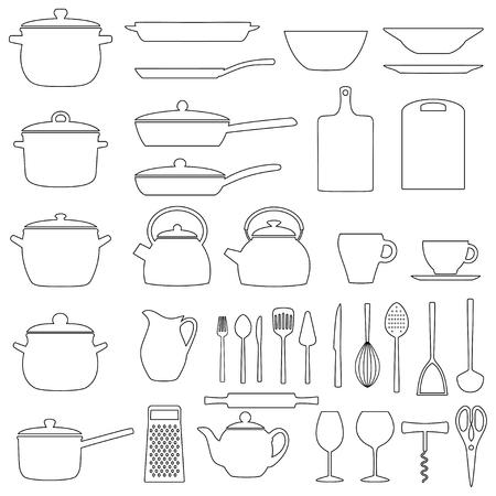 Set of kitchen utensils, illustration