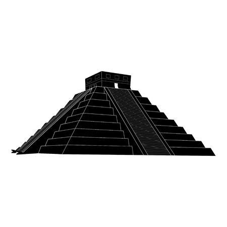 kukulkan: Chichen itza, Mexican Mayan Pyramid on white background, illustration