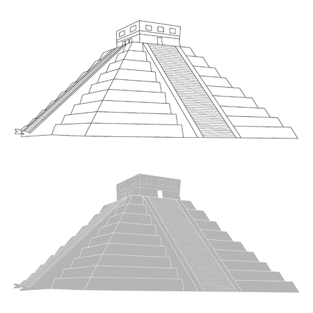 Chichen itza, mexican mayan pyramid on white background, illustration Illustration