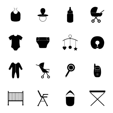 baby changing sign: Set of baby icons illustration