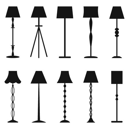 floor lamp: Set of floor lamp silhouettes