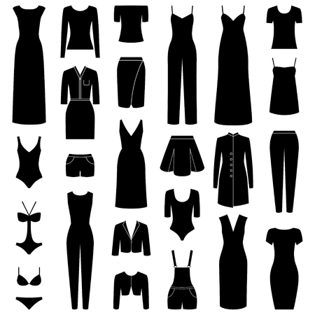 bolero: Set of woman clothes icons, vector illustration Illustration