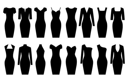 office wear: Set of black dresses, vector illustration