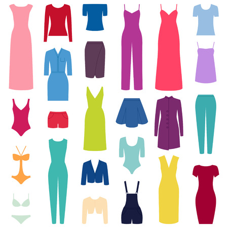 overall: Set of woman clothes icons, vector illustration Illustration