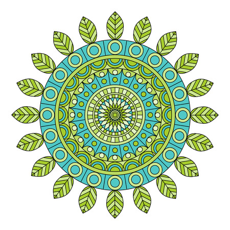 asian and indian ethnicities: Color floral mandala, vector illustration Illustration
