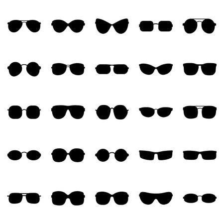 eyewear: Set of glasses and sunglasses, vector illustration