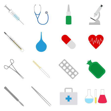 phonendoscope: Set of medical icons, vector illustration