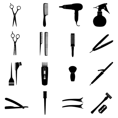 cutthroat: Set of icons of hairdresser tools, vector illustration