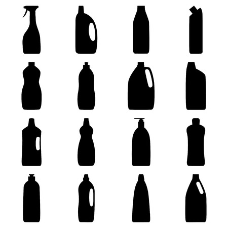 Set of bottle silhouettes of cleaning products, vector illustration