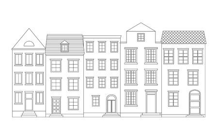 row: Row of houses, vector illustration