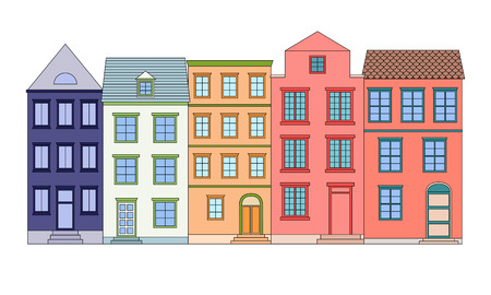 suburban street: Row of color houses, vector illustration Illustration